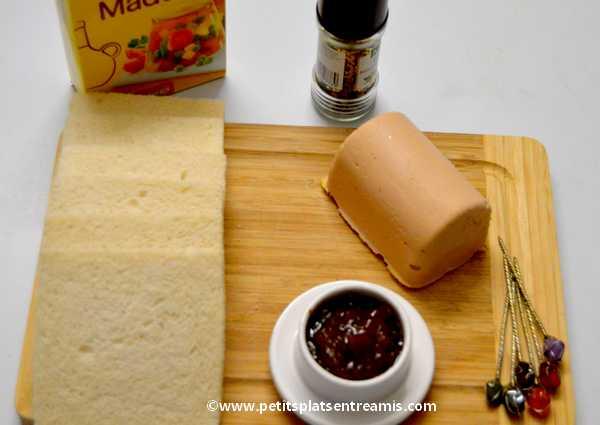 ingrédients minis sandwiches au foie gras