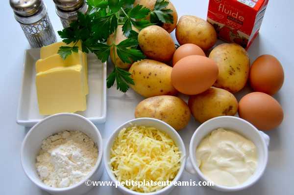 ingrédients petites galettes de pommes de terre au fromage