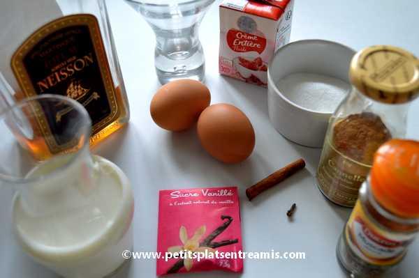 ingrédients pour lait de poule