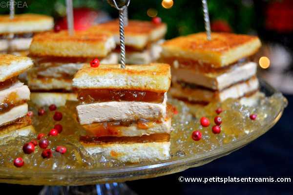 minis sandwiches au foie gras de Noël