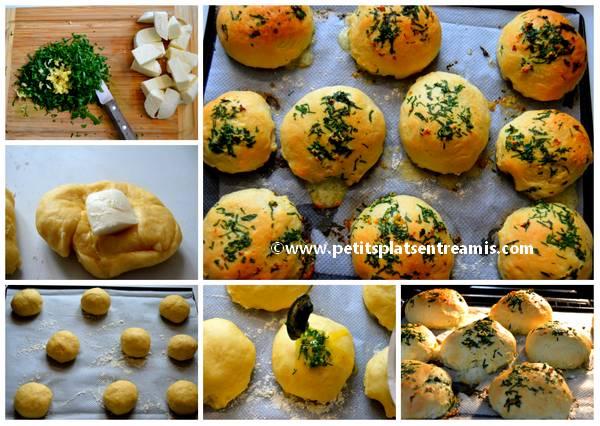 préparation petits pains à l'ail et au fromage