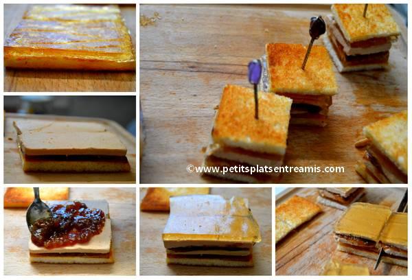 préparation petits sandwiches au foie gras