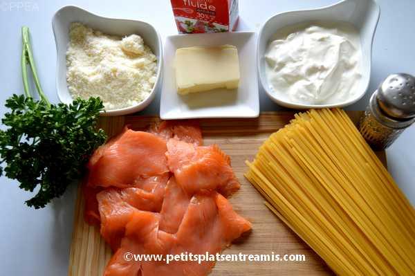 ingrédients pâtes au saumon