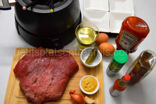 ingrédients pour fondue bourguignonne aux 4 sauces