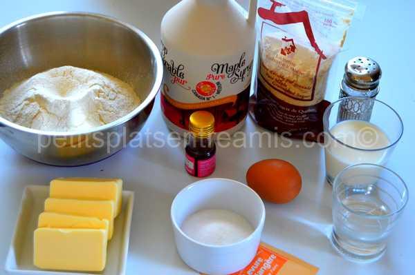 ingrédients rolls au sirop d'érable