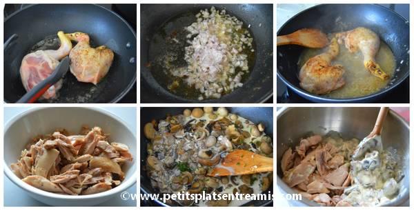 préparation farce pour tourte aux poulet champignons