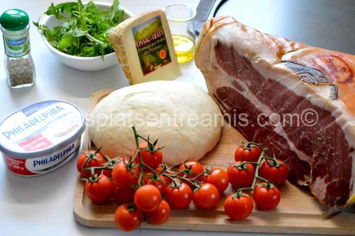 Ingrédients pour pizza au jambon de Bayonne