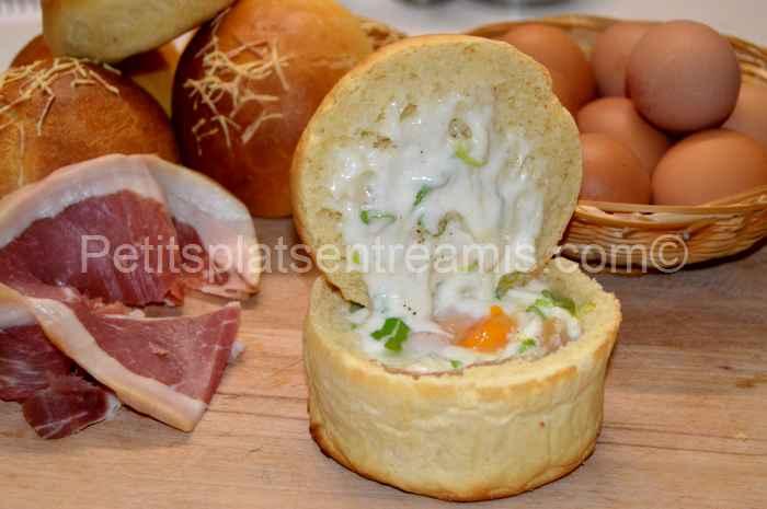 bol de pain, jambon cru oeuf fromage recette