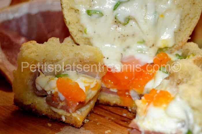 bol de pain, jambon cru oeuf fromage tranché