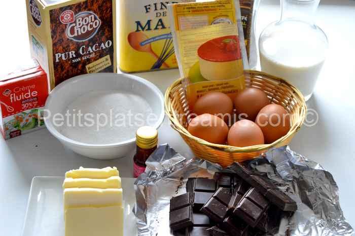 ingrédients gâteau de mousses chocolat café