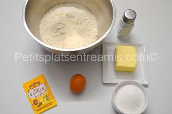 ingrédients pâte sablée