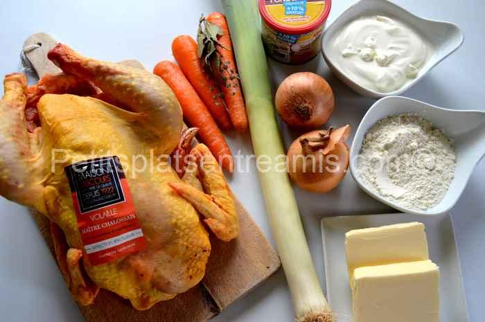 ingrédients pour poulet sauce suprême
