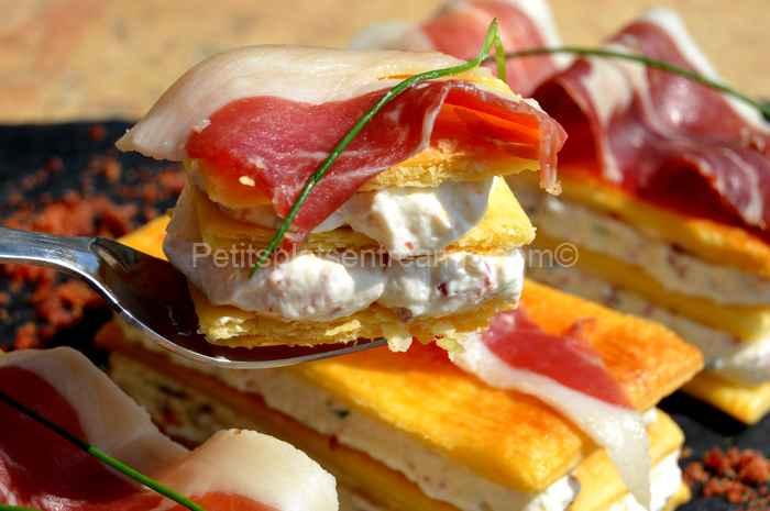 Bouchée de mille-feuille-au-jambon-Noir-de-Bigorre