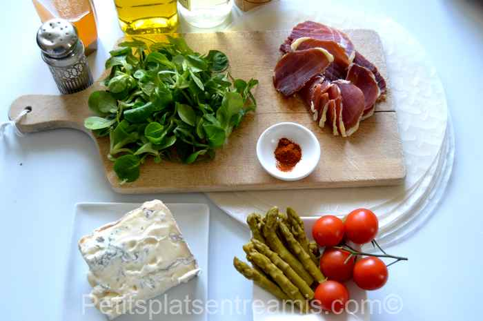 Ingrédients pour rouleaux de printemps au jambon de Bayonne