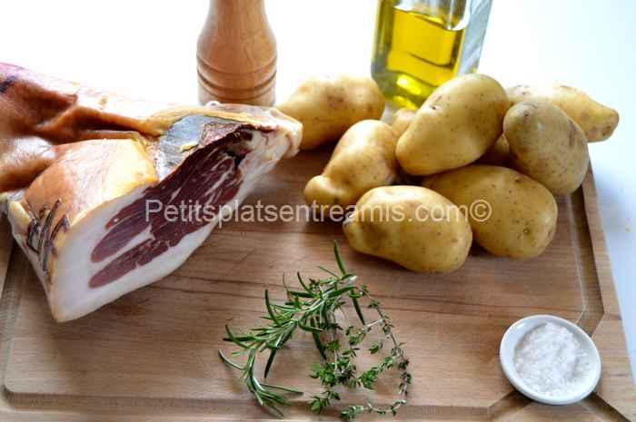 ingrédients pommes de terre suédoises au jambon Noir de Bigorre