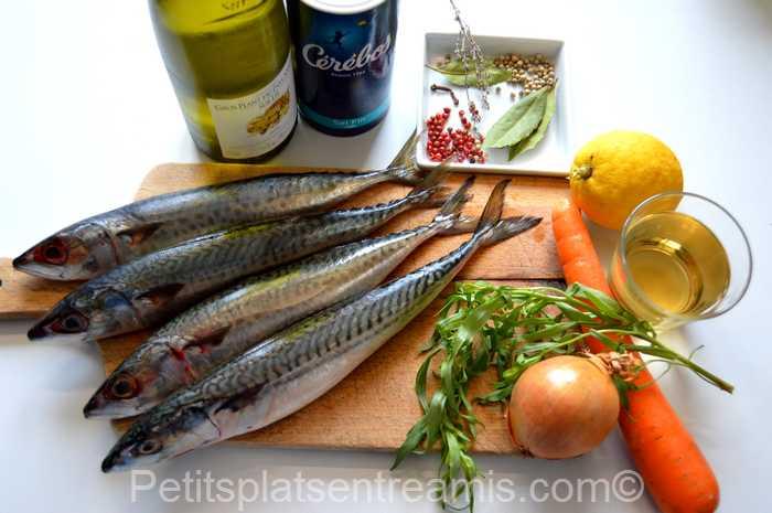 ingrédients pour filets de maquereaux marinés au vin blanc