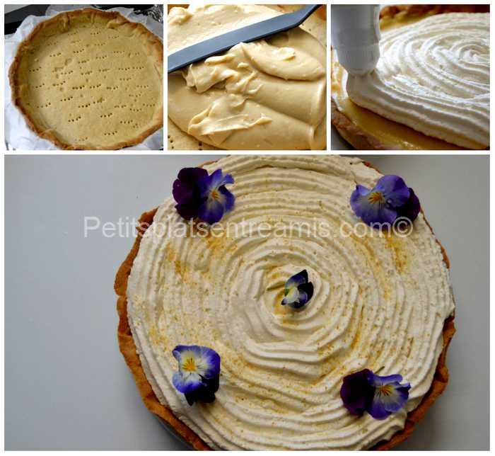 montage de la tarte québécoise à la crème
