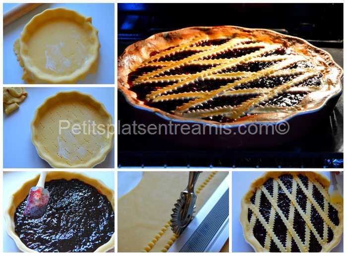 préparation et cuisson de la tarte à la confiture de mûres
