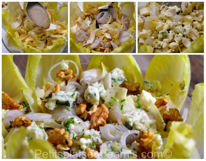 préparation salade d'endives au roquefort