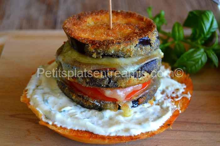 recette burger aubergine et cantal