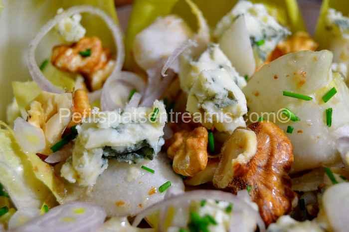 recette salade d'endives au roquefort et aux noix