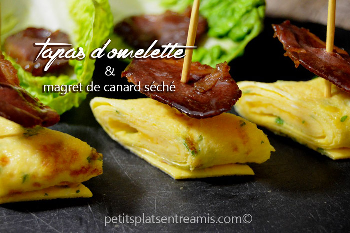 Tapas-d'omelette-et-magret-de-canard-séché