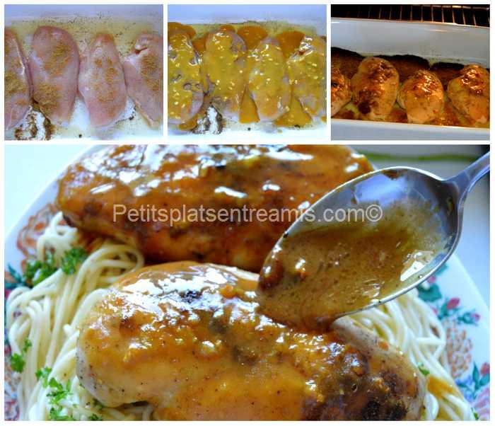 cuisson poulet moutarde et sirop d'érable