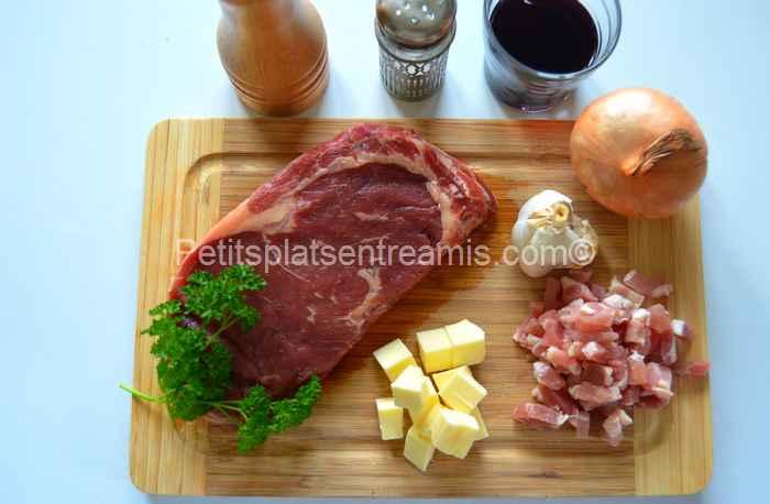 ingrédients noix d'entrecôte - Ribeyes sauce au vin