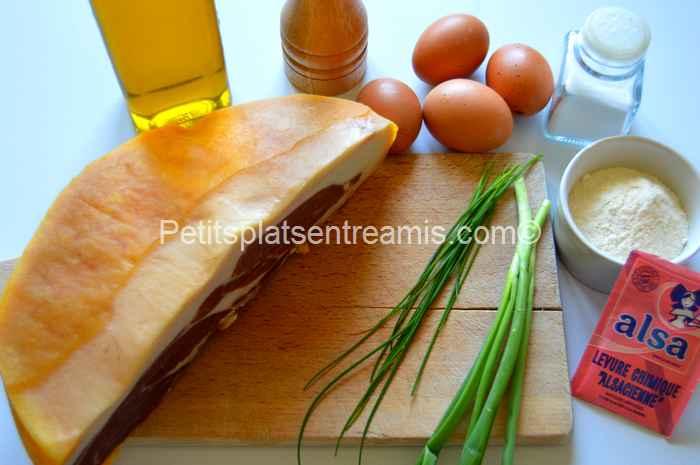 ingrédients pancakes au jambon de Bayonne
