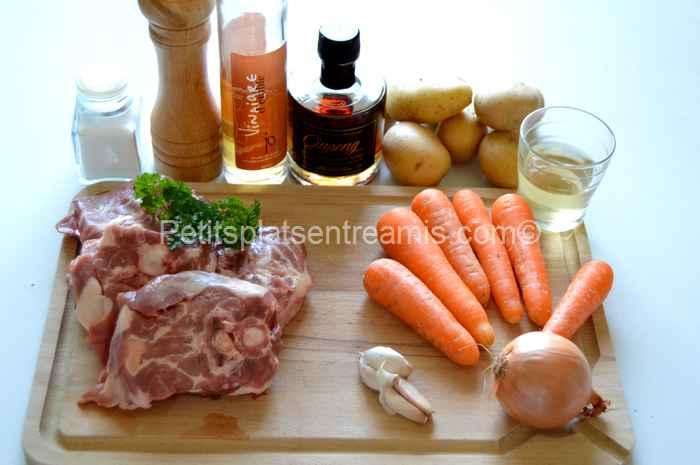 ingrédients pour collier d'agneau au sirop d'érable