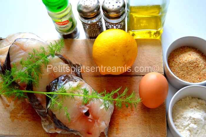 ingrédients pour tranches de cabillaud panées