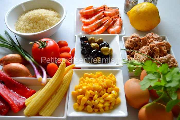 ingrédients salade de riz au thon et crevettes