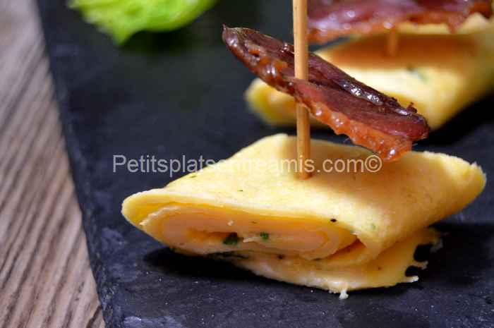 recette tapas d'omelette et magret de canard séché