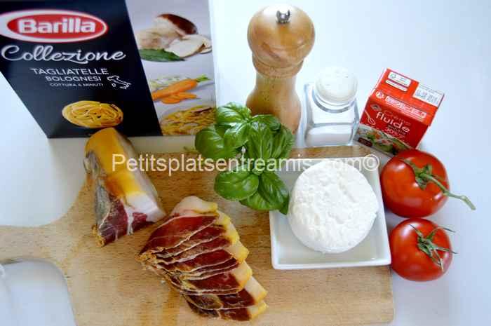 Ingrédients tagliatelles au jambon de Bayonne et chèvre frais