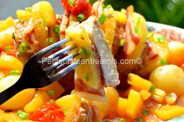 bouchée de rôti de porc à l'ananas et au jambon de Bayonne
