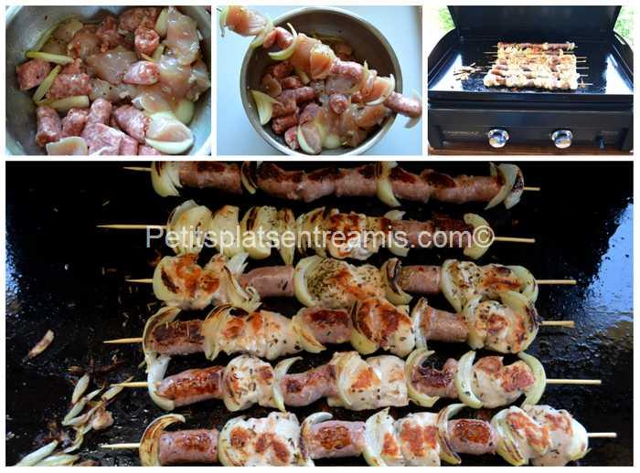 cuisson brochette de poulet à la plancha