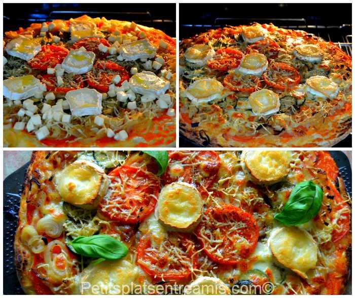 cuisson pizza au chèvre et basilic