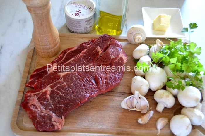 ingrédients basse côte de boeuf aux champignons