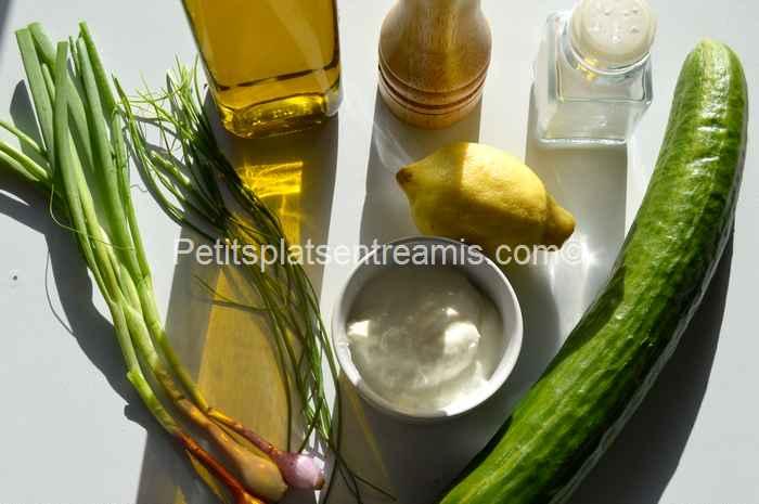 ingrédients concombre au fromage blanc