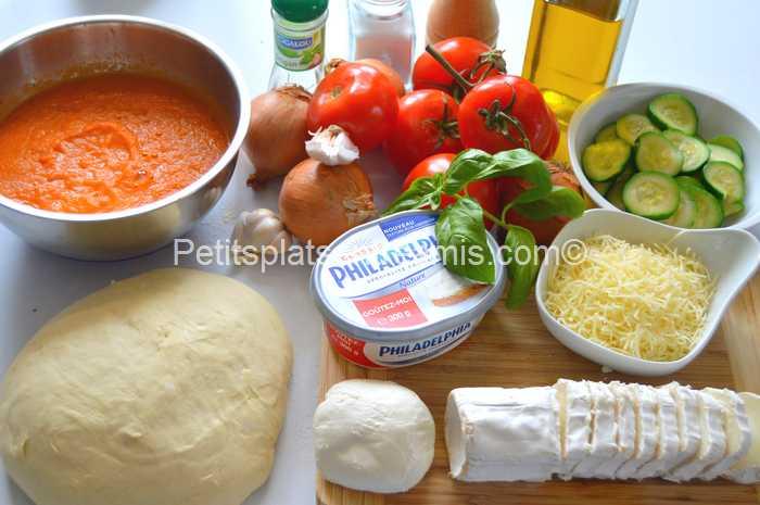 ingrédients pizza au chèvre et basilic