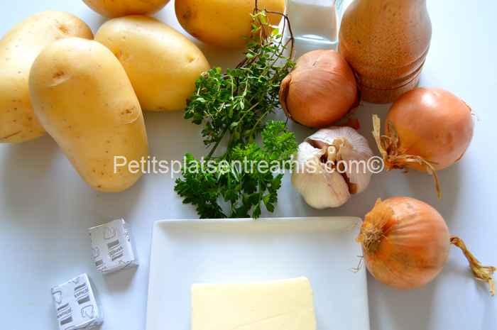 ingrédients pour pommes de terre à la boulangère