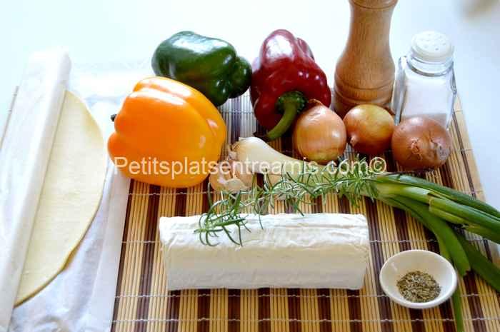ingrédients tarte au chèvre et poivrons
