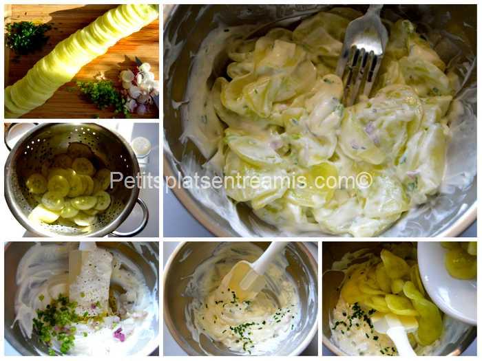 préparation concombre au fromage blanc