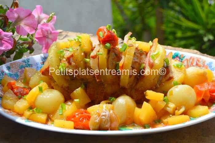 rôti de porc à l'ananas et au jambon de Bayonne recette