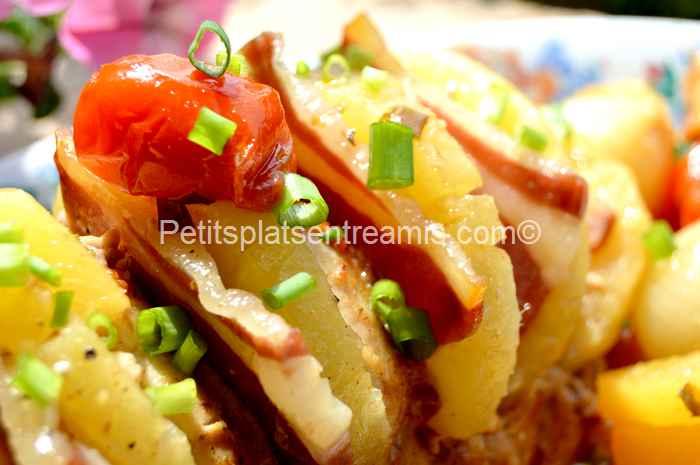 recette rôti de porc à l'ananas et au jambon de Bayonne