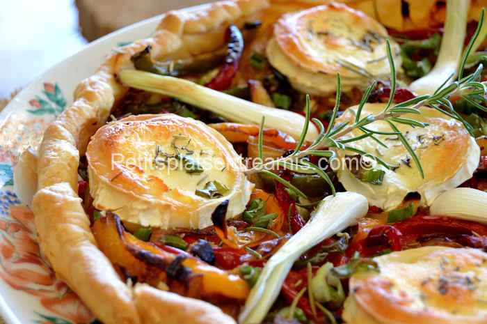 recette tarte au chèvre et poivrons