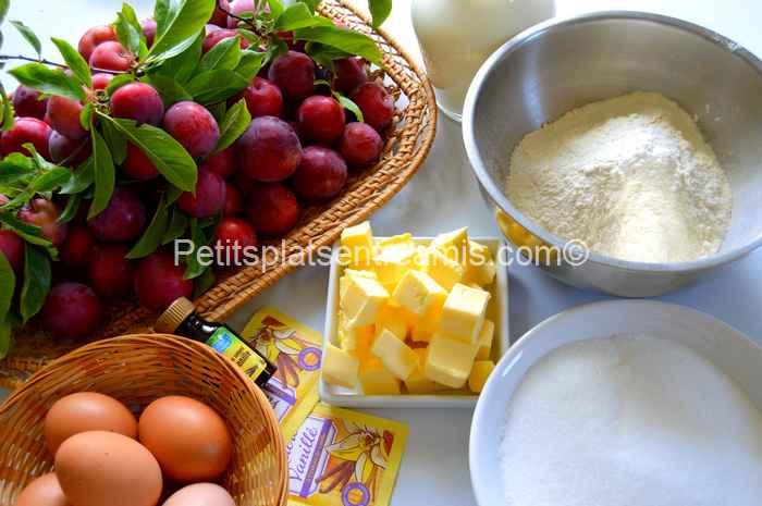 ingrédients clafoutis aux prunes