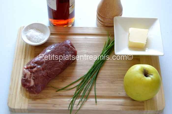ingrédients pour faux-filet aux pommes flambé au calvados