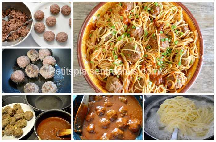 préparation capellini aux boulettes de boeuf