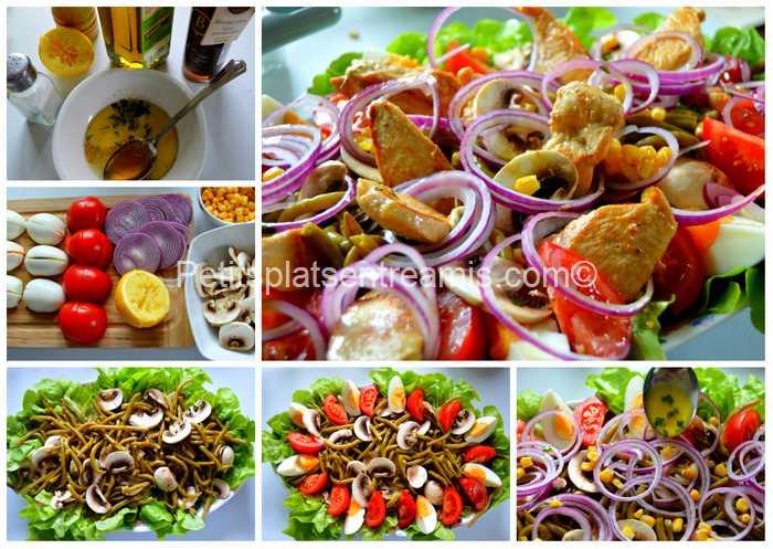 préparation salade de blancs de volailles